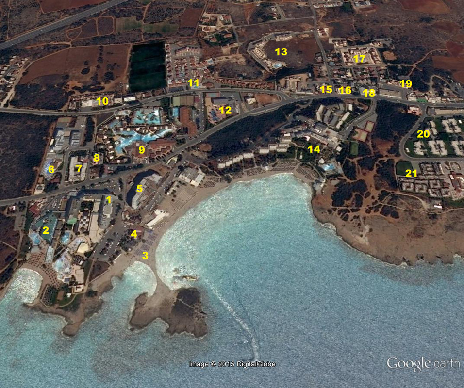 Nissi Beach hotels location nap