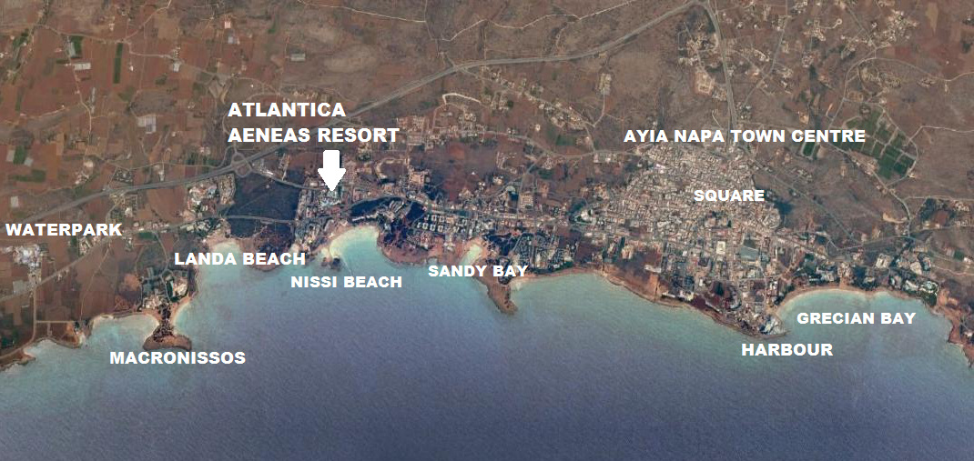 Atlantica Aeneas Resort Ayia napa Map