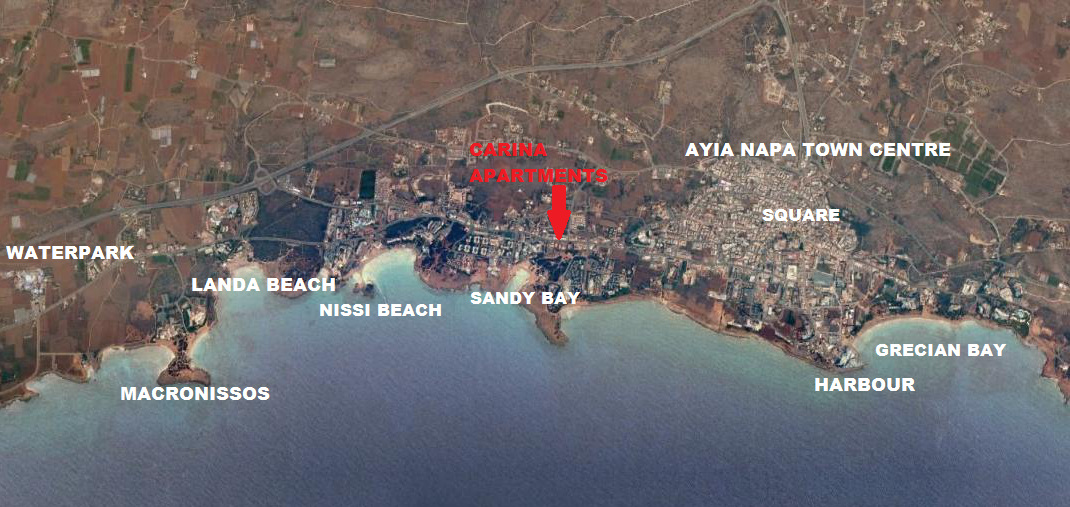 carina apartments ayia napa map