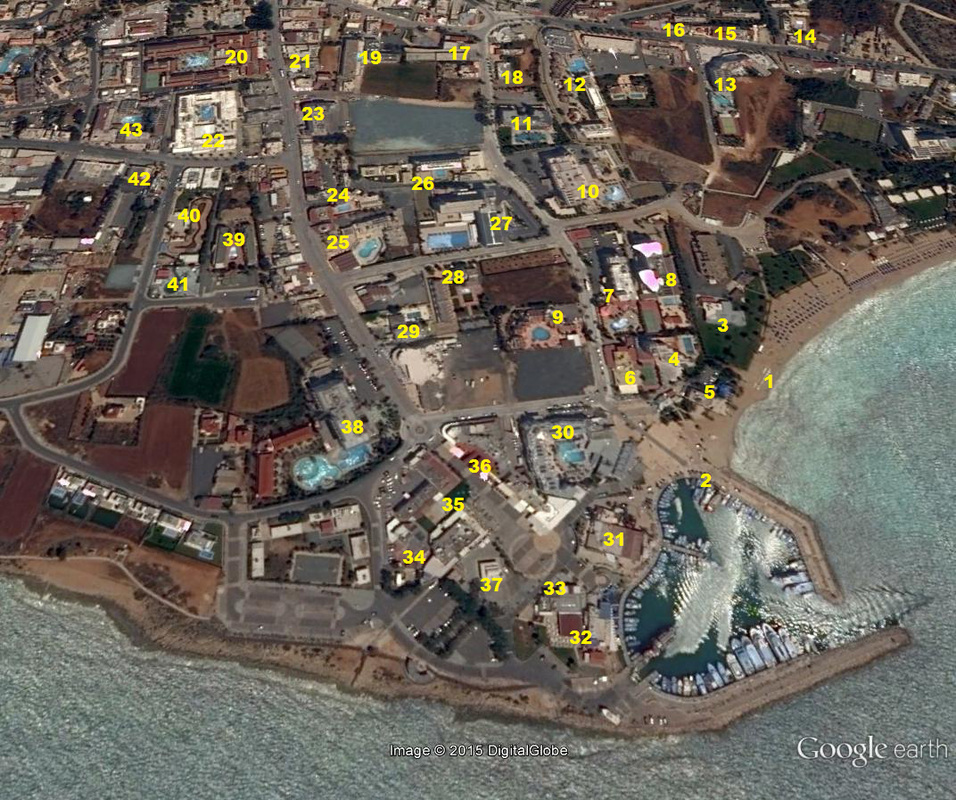 Ayia Napa harbour hotels location map