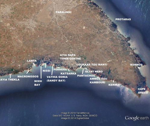 Ayia Napa Beaches map