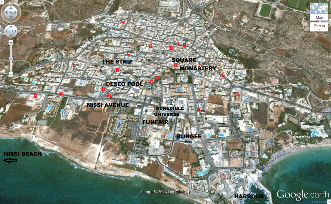 Ayia Napa resort services map