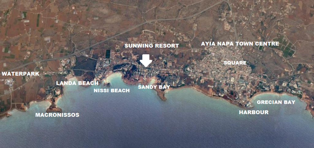Sunwing Sandy bay Resort Ayia Napa map