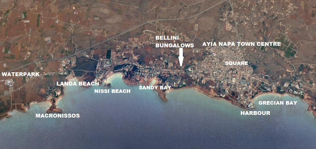 Bellini Bungalows Ayia napa Map