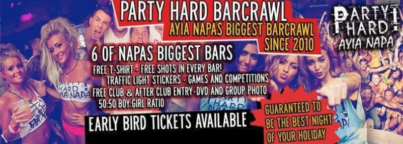 Party hard bar crawl ayia napa