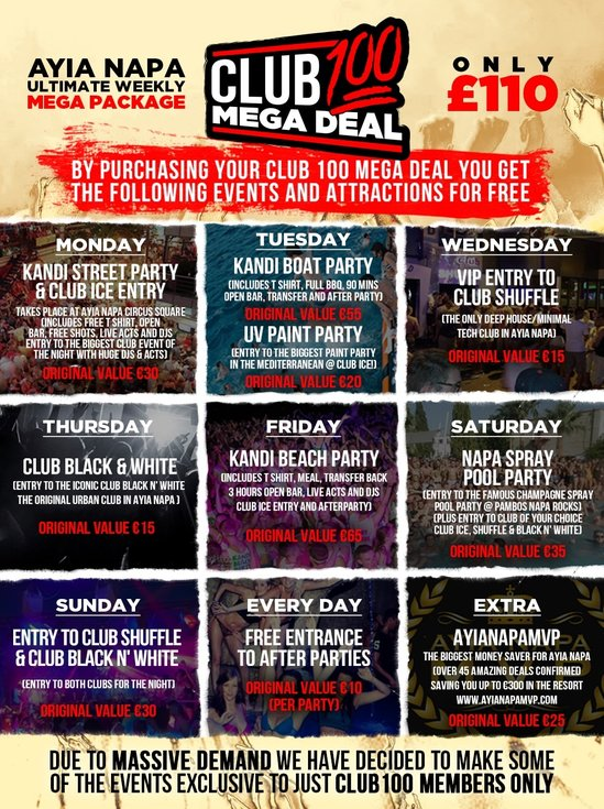 Club 100 ayia napa package